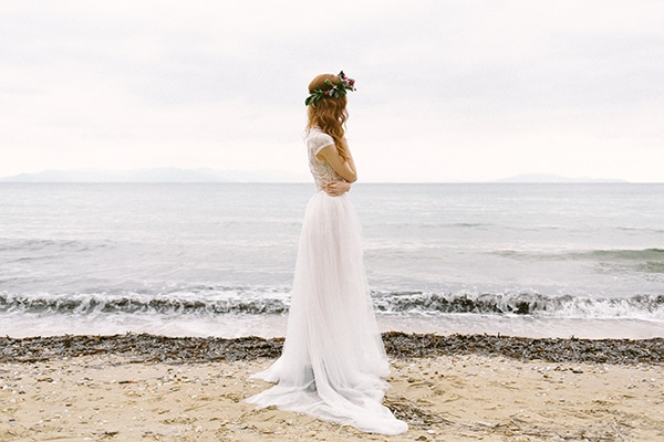Backstage dreamy red winter bridal shoot on the beach