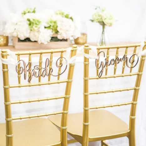 """Πινακίδες γάμου """"Bride"""" & """"Groom"""" για τις καρέκλες του γαμπρού και της νύφης"""