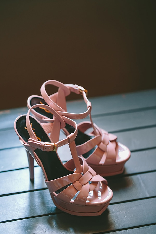 Ροζ Saint Laurent νυφικά παπούτσια με λουράκια