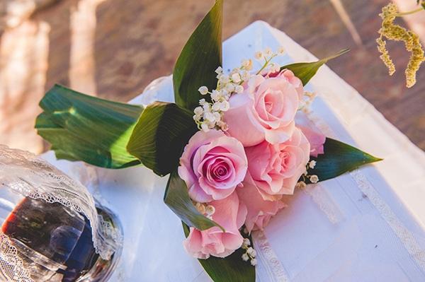 ροζ-τριανταφυλλα-νυφικη-ανθοδεσμη