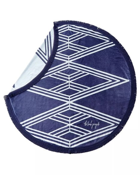 Στρογγυλή πετσέτα θαλάσσης σε μπλε χρώμα