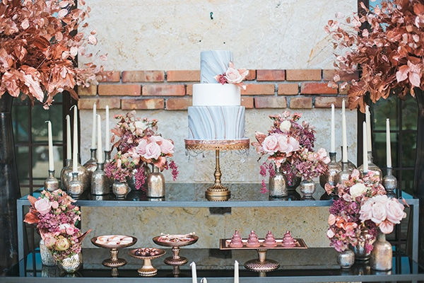 Rose gold και γκρι ιδεες διακοσμησης γαμου