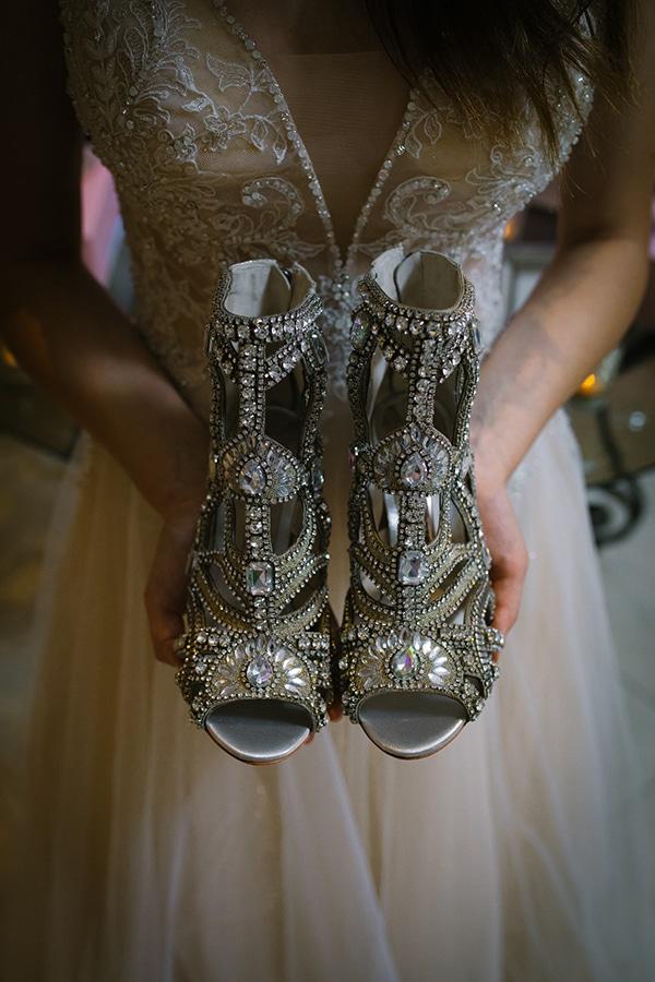 Sophia Webster elegant νυφικά παπούτσια σε ασημί χρώμα