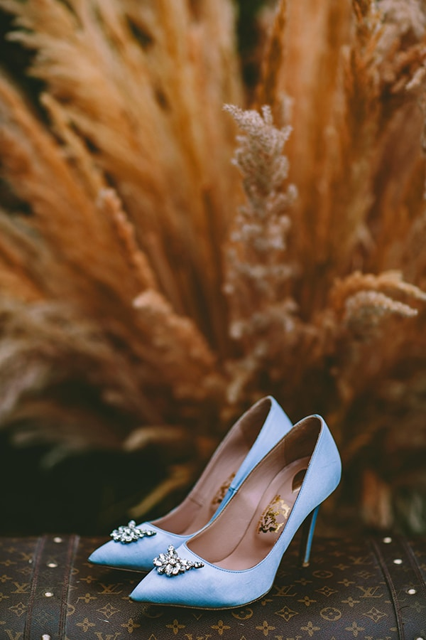 Cinderella γαλάζιες νυφικές γόβες