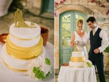 Μοντερνα τουρτα σε κιτρινη – λευκη αποχρωση