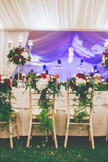 Elegant στολισμος γαμου με κοκκινα λουλουδια
