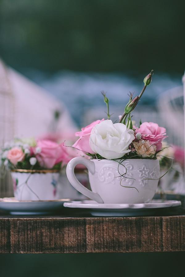 Vintage στολισμος γαμου με teacups