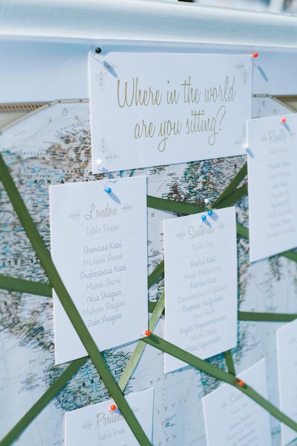 Destination wedding seating chart