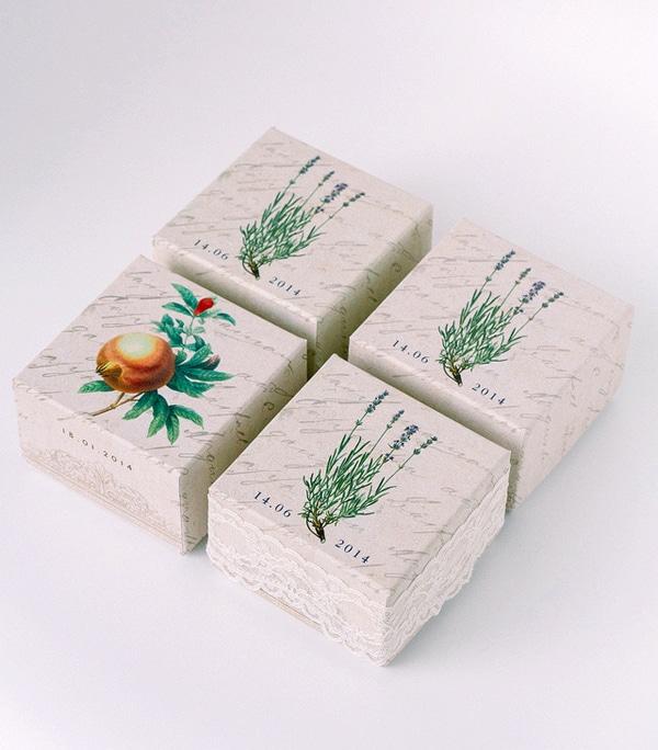 Μπομπονιερες κουτακια με herbal theme
