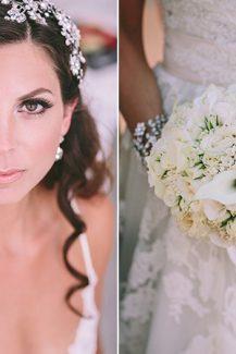 Στρογγυλό μπουκέτο νύφης σε λευκό χρώμα