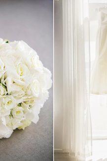 Νυφικό μπουκέτο με λευκά λουλούδια