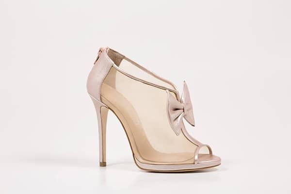 Ροζ νυφικα παπουτσια με φιογκο
