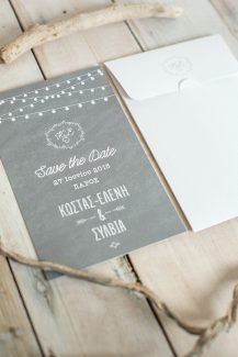 Save the Date with string lights