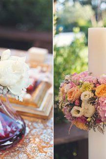 Στολισμος λαμπαδας με πολυχρωμα λουλουδια