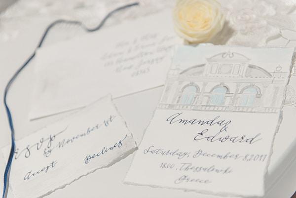 Προσκλητηρια γαμου με watercolor μοτιβο