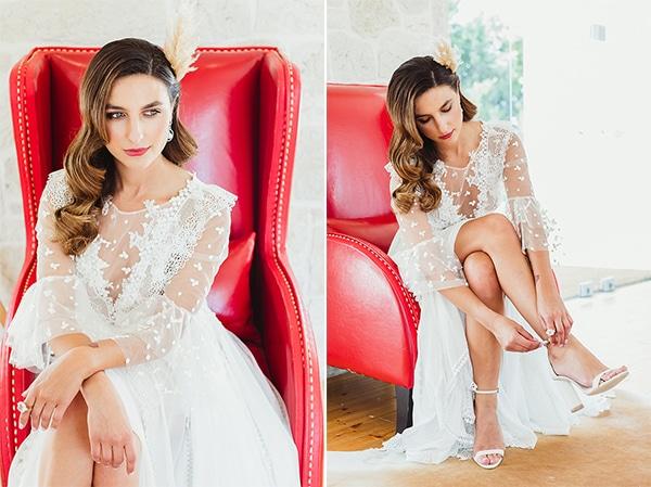 Boho chic χτένισμα νύφης