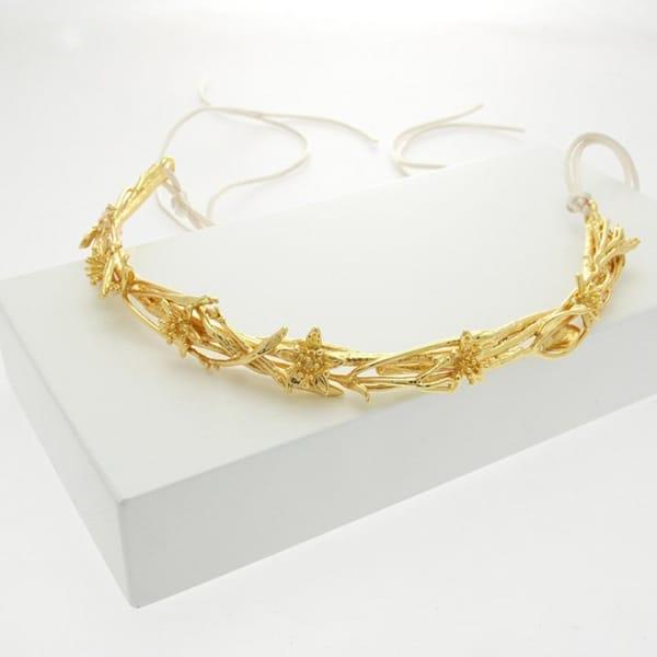 Χρυσο στεφανι για τα μαλλια νυφης