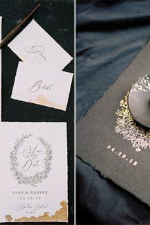 Προσκλητήριο γάμου με gold foil