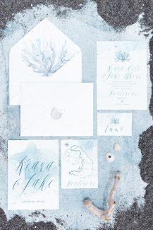 Προσκλητήρια γάμου σε λευκές και μπλε αποχρώσεις