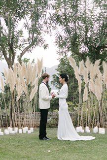 Μοναδικες ιδεες για διακοσμηση του χωρου της δεξιωσης γαμου με pampas grass
