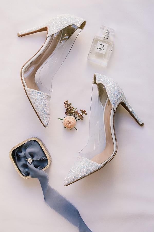 Chic νυφικα παπουτσια με ασημι glitter