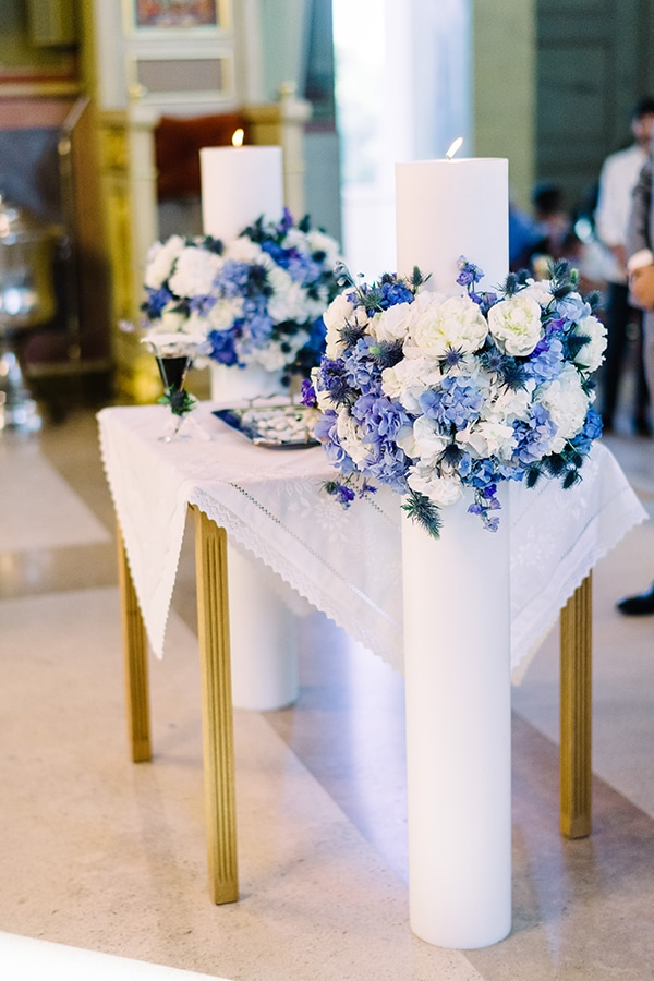 Στολισμος λαμπαδας εκκλησιας σε μπλε και λευκες αποχρωσεις