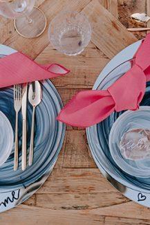Tableware σε φουξ, τυρκουαζ και μπλε λεπτομερειες