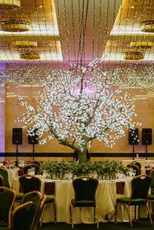 Πρωτότυπος στολισμός δεξίωσης γάμου με illuminated δέντρο
