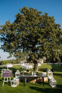 Στολισμος υπαιθριας δεξιωσης γαμου με ξυλινες λεπτομερειες και λουλουδια