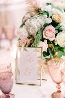 Elegant αριθμηση τραπεζιων δεξιωσης γαμου με γυαλινα – χρυσα frames