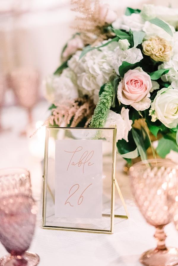Elegant αρίθμηση τραπεζιών δεξίωσης γάμου με γυάλινα – χρυσά frames