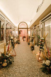 Μποεμ – elegant στολισμος διαδρομου δεξιωσης γαμου