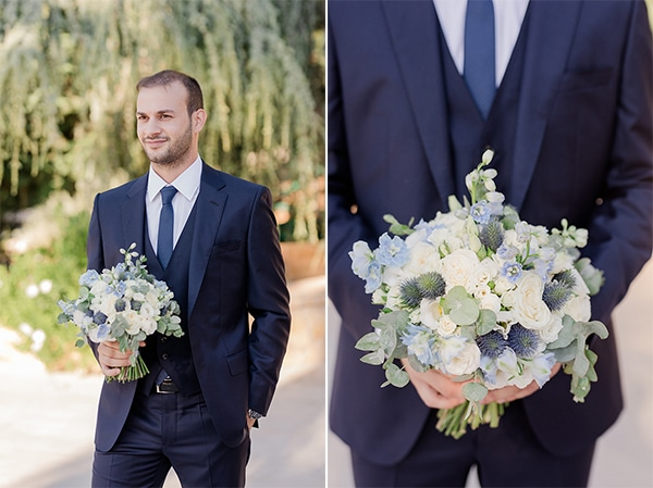 romantic-summer-wedding-athens-dusty-blue-flowers_15A