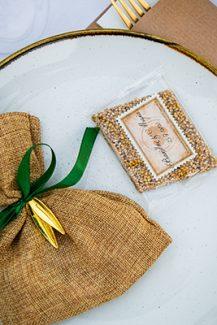 Μπομπονιέρα γάμου – πουγκί από λινάτσα