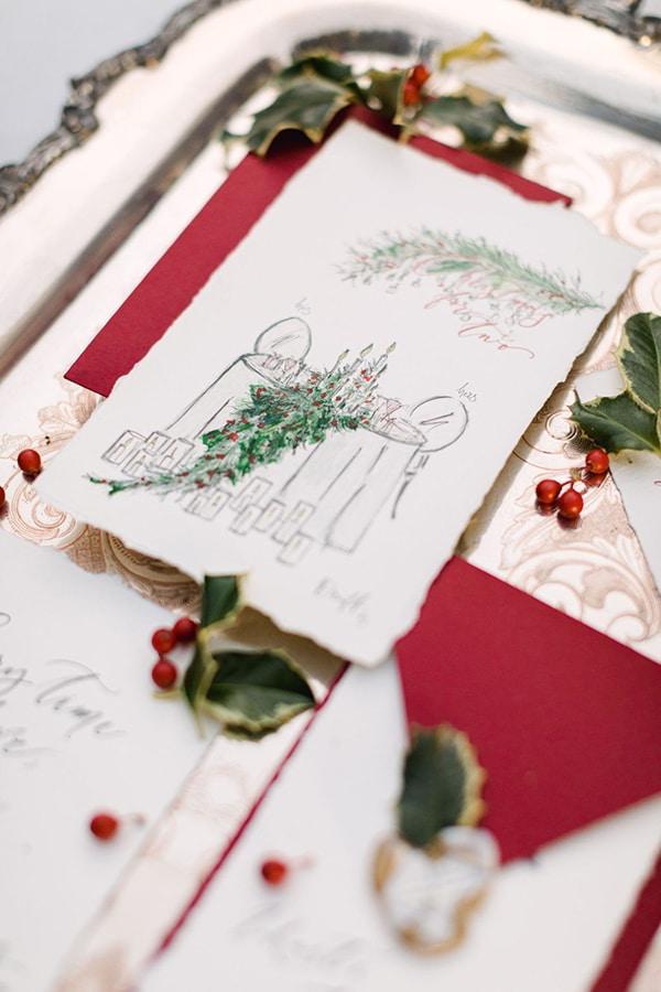 Γιορτινές προσκλήσεις με καλλιγραφία