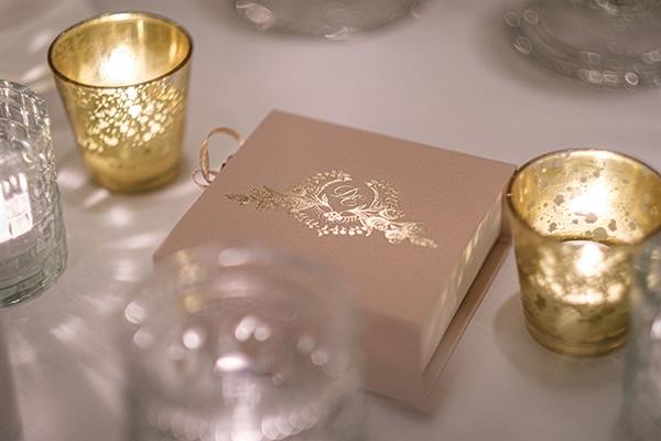 Elegant μπομπονιέρες γάμου με κουτάκι σε dusty pink απόχρωση