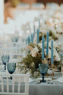 Modern – elegant στολισμός δεξίωσης γάμου σε pastel και γαλάζιες αποχρώσεις