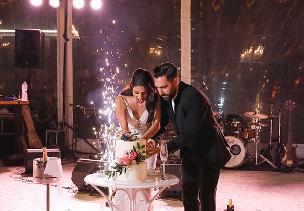 Υπέροχη δίπατη τούρτα γάμου διακοσμημένη με ρομαντικά ροζ τριαντάφυλλα